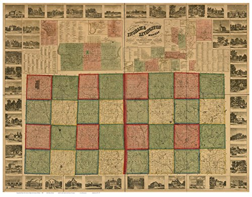 ingham-and-livingston-counties-michigan-1859-wall-map-reprint-with-homeowner-names-farm-lines-geneal