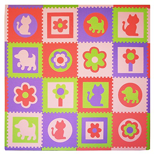 Tadpoles Playmat Set 16-Piece Cats and Dogs, Pink