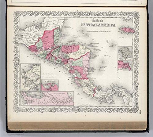Map Poster - Central America. Guatemala, Honduras, Nicaragua, Costa Rica and Jamaica. - 24