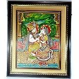 Paras Magic Marble Radha Krishna Painting Idol (Standard,Multicolor)