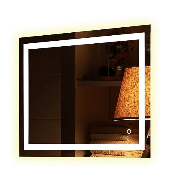 Specchi bagno LED anti-appannamento con tasto Sensitive Gary 8090100120130cm illuminante caldo e freddo, Froide, 80_x_60_cm