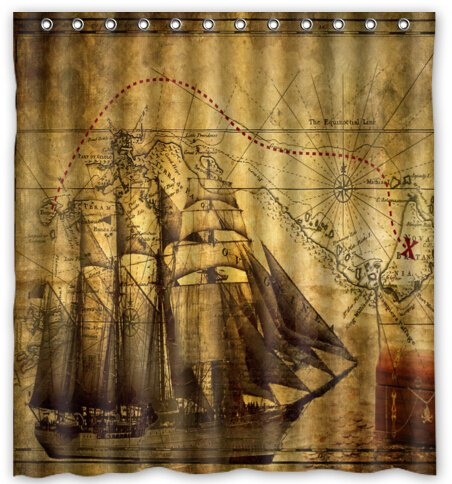 Cute Nautical Vintage Sailing Pirate Ship Novelty Shower Curtain 66