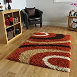 Helsinki Cheap Modern Non Shed Terracotta Orange & Brown Shaggy Rugs 1888 - 4 Sizes Available