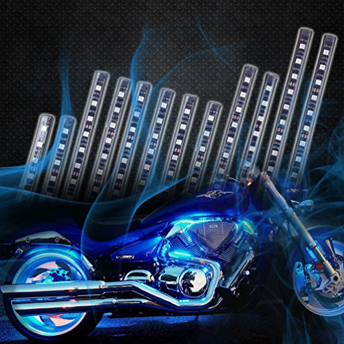 12pcs motorcycle led light kit multi color flexible strips with remote controller flashing. Black Bedroom Furniture Sets. Home Design Ideas