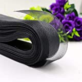 Teemico 50 Yards Stiff Polyester Horsehair Braid for Polyester Boning Sewing Wedding Dress Dance Formal Dress Accessories (Black, 3 inch) (Color: black, Tamaño: 3 inch)