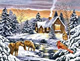Reeves Snow Scene Acrylic Painting Set by Numbers, Large