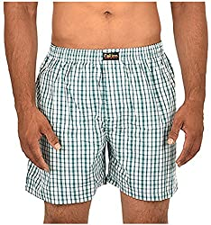 CALICO Men's Cotton Boxers (CAL_25_S, White and Green, S)