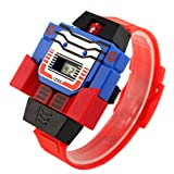VIGOROSO Boys Children Kids Digital Pu Watch Transformers Bumblebee Cartoon Wristwatch (Red Band)