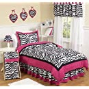 Hot Pink Black White Funky Zebra Childrens Bedding 4pc Twin Set By Sweet Jojo Designs