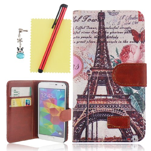 Ancerson New Fashion Retro Eiffel Tower Hot Pink Rose Flower Red Butterfly Magnetic Magnet Buckle Pu Leather Protective Flip Case Cover Shell Skin With Credit/ Id Card Slots Holes Wallet Slip Stand For Samsung Galaxy S5/ Gs 5 V I9600 At&T G900A/ Sprint G9