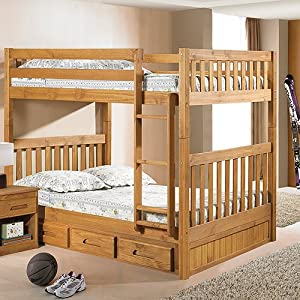 Explorer Full Full Mission Bunk w/ 3 Drawers: Desk Hutch & Chair, TV Stand by Factory Bunk Beds