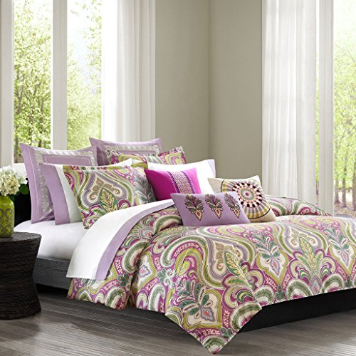 Echo Design Purples Greens Vineyard Paisley 8 Piece Queen Comforter Bundle Set