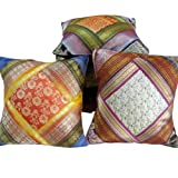 Little India Hand Embroidery Silk Thread Work Silk 5 Piece Cushion Cover - Multicolor