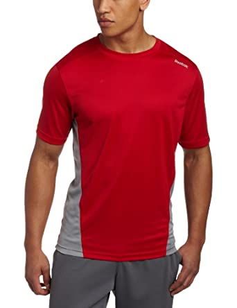 Reebok Men's PlayDry Textured Knit Shirt, Excellent Red/Flat Grey, Small