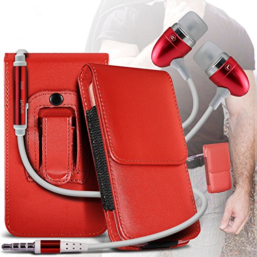 Red Samsung Galaxy S Blaze 4G PU Leather Belt Holster Pouch Case Cover Holder And Ear Buds Stereo Hands Free Headphones Headset with Built in Microphone Mic and On-Off Button By ONX3