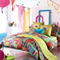 Sisbay Bohemian Exotic bedding,Colorful Modern Duvet Cover,Queen King Size Bed Sheet,European Unique Active Print Bed in a Bag,4pcs