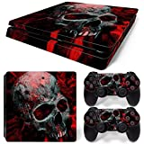 Gam3Gear Vinyl Decal Protective Skin Cover Sticker for PS4 Slim Console & Controller - Red Skull (Color: Red Skull)