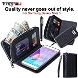 Galaxy Note 5 Case, TabPow Wave Zipper Cash Slot Series - [Card Slots][Button Closure] Flip PU Leather Wallet Case Cover With Detachable Magnetic Hard Case For Samsung Galaxy Note 5, Black