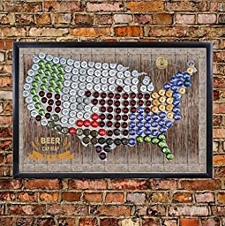 United States, USA, US Magentic Beer Cap Map, Craft Beer Map, Bottle Cap Map (24x36)