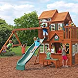 Outdoor Activity Centre. The Solowave Cedar Summit Mount Forest Lodge Play Centre includes a Two Storey Clubhouse, Swings, Acrobat Swing, Wave Slide, Climbing Wall, 3-in-1 Activity Table, Sand and Water Table, Picnic Bench and much more...Ideal for Kids Parties and Garden Games.