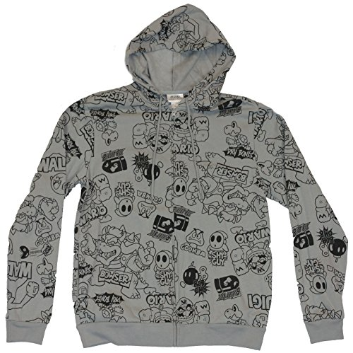 Super Mario Bros Mens Hoodie Sweatshirt - Big Bosses (Bowser, Wario, etc.)