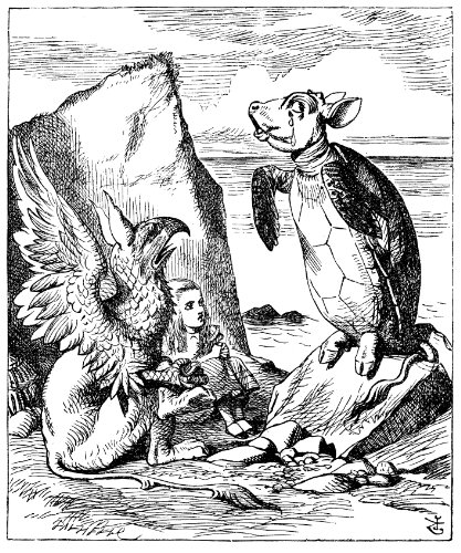 13.9cm x 9.9cm Window Cling Alice in Wonderland-The Mock Turtle and Gryphon sing to Alice