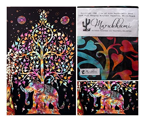 Marubhumi-Tree-of-Life-Psychedelic-Wall-Hanging-Elephant-Tapestry-MultiBlack