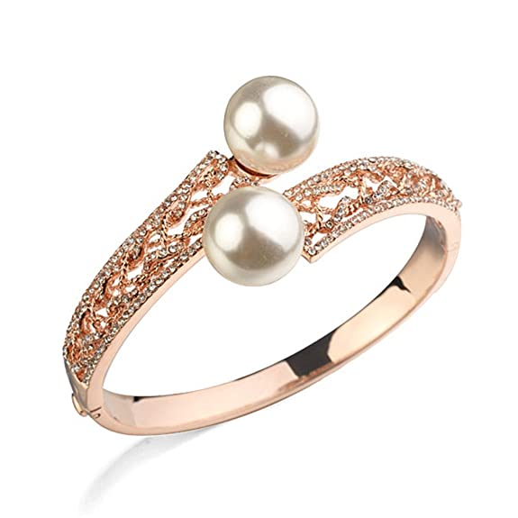 Loventer 18k rose gold plated nickle Free Austria Rhinestone Imitation pearl Bangles and bracelets -- $23.89