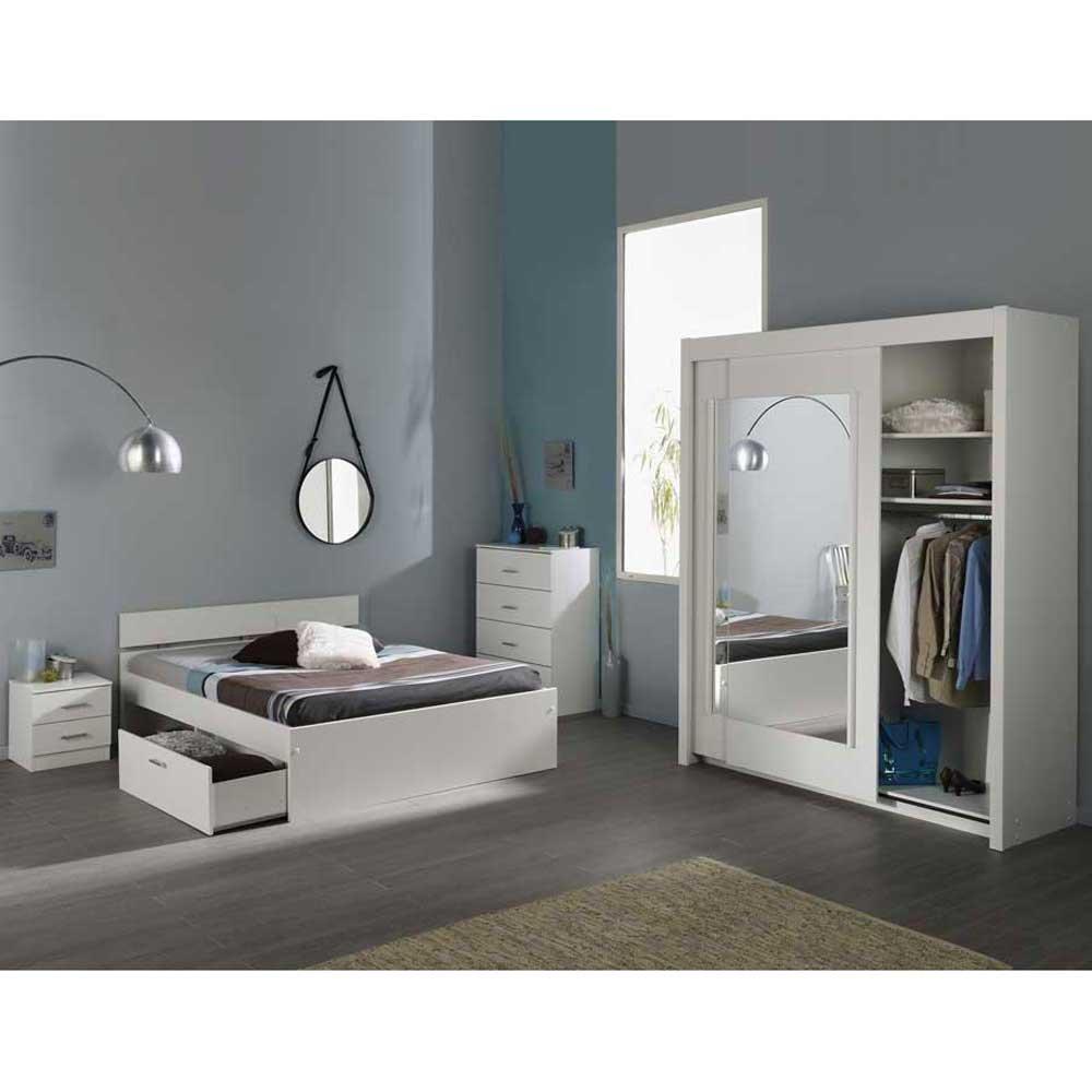 Schlafzimmer mit Schiebetürenschrank Weiß (4-teilig) Liegefläche 140×200 Pharao24 günstig online kaufen