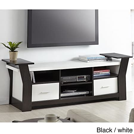 Furniture of America Skyler Contemporary 64-inch Two Drawers Entertainment TV Console Black and White