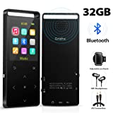 MP3 Player,32GB MP3 Player with Bluetooth,Portable Bluetooth Lossless MP3 Music Players, Digital Audio Music Player with FM Radio/Voice Recorder, Expandable up to 128G by TF Card (Color: Black)