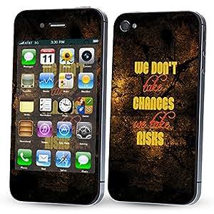 Skintice Designer Mobile Skin Sticker for Apple iPhone 4/4S, Design - Take Risks