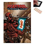 Bundle - 2 Items - Deadpool Gun Bang Poster - 91.5 x 61cms (36 x 24 Inches) and a Set of 4 Repositionable Adhesive Pads For Easy Wall Fixing (Tamaño: 24  x 36  Inch)