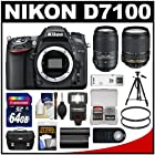 Nikon D7100 Digital SLR Camera Body with 18-140mm & 55-300mm VR Lens + 64GB Card + Case + LED Flash + Battery + Tripod Kit
