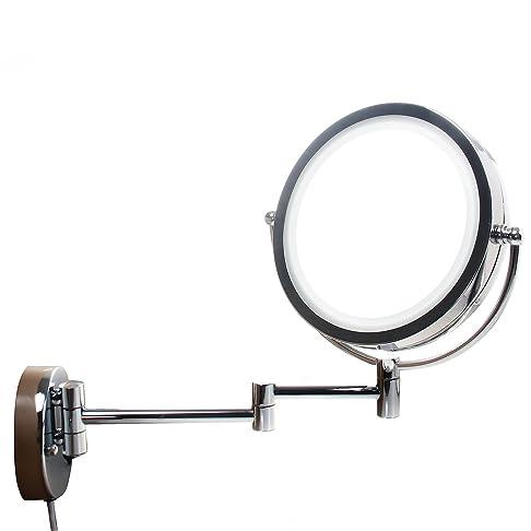 TUKA LED Specchio a parete cosmetico 10X Ingrandimento, 8.5 pollici Doppio Specchio muro, con spina EU (Germania, Francia, Spagna), specchio montaggio a parete, LED Illuminato Specchio, TKD3129-10x