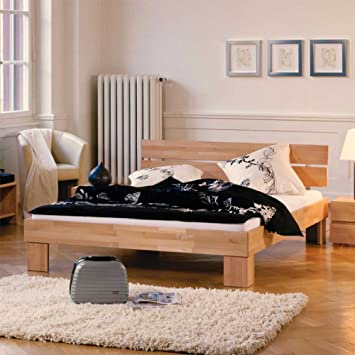 Hasena Woodline Bett Doppelbett massiv Buche natur Bent Breite 127 cm Liegefläche 120x200 Stutz-Steg Ohne Pharao24