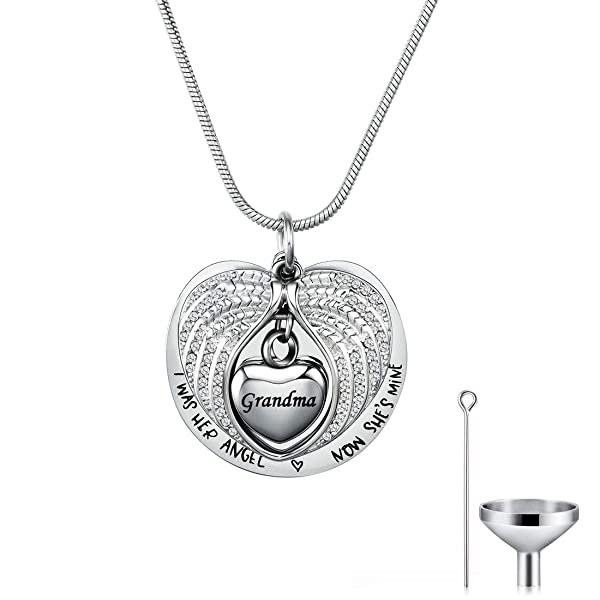 Heart Cremation Memorial Keepsake Pendant Necklace Jewelry with Fill Kit and Gift Box WK Wife Angel Wing Urn Necklace for Ashes