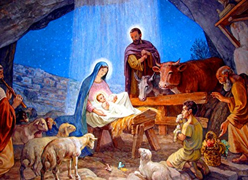 Nativity Scene Christmas POSTER print 12x16 Holy Family Mary and Infant Jesus picture Christian Catholic wall art