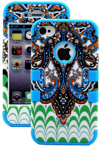 Mylife Sky Blue - Retro Paisley Series (3 Piece Protective) Hard And Soft Case For The Iphone 4/4S (4G) 4Th Generation Touch Phone (Fitted Front And Back Solid Cover Case + Internal Silicone Gel Rubberized Tough Armor Skin) front-351514