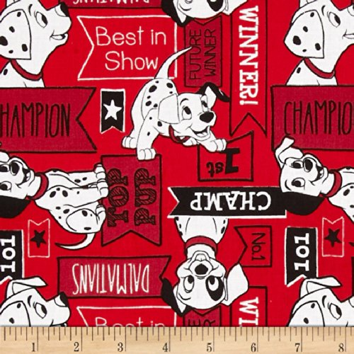 Disney Dalmatians Signs Red Fabric
