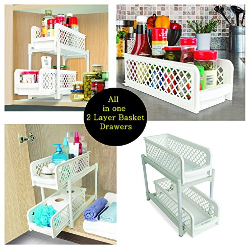 Evana 15″ Versatile 2 Tier Portable Sliding Basket Drawers Storage Cabinet Box