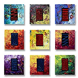 Neron Art - Handpainted Abstract Oil Painting on Gallery Wrapped Canvas Group of 9 pieces - Belfast 36X36 inch (91X91 cm)