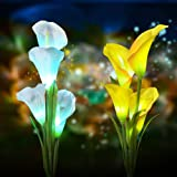Solar Flower Lights Outdoor Decorative - Outdoor Solar Garden Stake Lights Calla Lily 7 Multi-Color Changing Waterproof LED Solar Lights for Garden,Patio,Backyard Decor 2 Pack (Color: Yello&White)