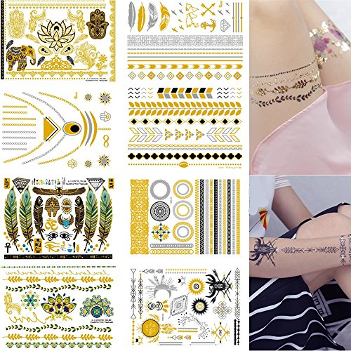 PremiumTemporary Tattoos 8 Sheets Removable Waterproof Instant Temporary Fake Jewelry Tattoos,Body Art Sticker,Wrist & Arm Bands,Metallic Gold,Silver & Color Shimmer (Fake Robot Arm compare prices)