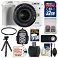 Canon EOS M3 Wi-Fi Digital ILC Camera & EF-M 18-55mm IS STM Lens (White) with 32GB Card + Case + Flex Tripod + Filter + Remote + Kit
