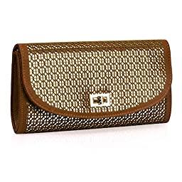 BMC Perforated Quartered Circle Cut Out Design Chocolate Brown Faux Leather Shiny Gold Base Color Fashion Envelope Clutch