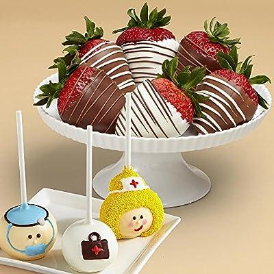 Shari's Berries - 3 Get Well Brownie Pops & Half Dozen Swizzled Strawberries - 9 Count - Gourmet Fruit Gifts from Shari's Berries