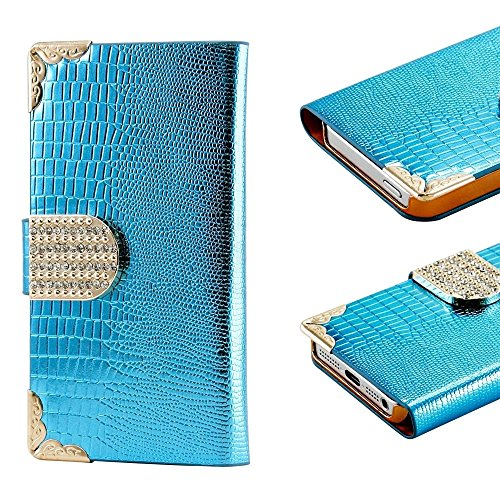 Mylife Sapphire Blue - Crocodile Design - Textured Koskin Faux Leather (Card And Id Holder + Magnetic Detachable Closing) Slim Wallet For Iphone 5/5S (5G) 5Th Generation Smartphone By Apple (External Rugged Synthetic Leather With Magnetic Clip + Internal