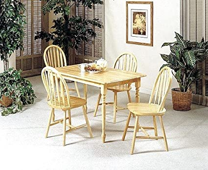 5pc Country Style Natural Finish Wood Dining Table +4 Windor Arrowback Chair Set