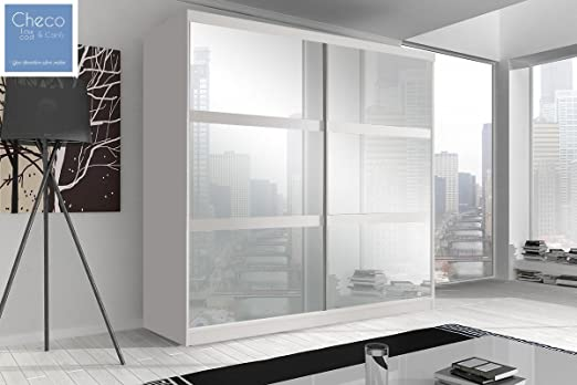 FAST&FREE DELIVERY BEDROOM SLIDING DOOR WARDROBE 6ft 8in (203cm) 'REFLECTION' MULTI F10 WHITE WITH MIRRORS